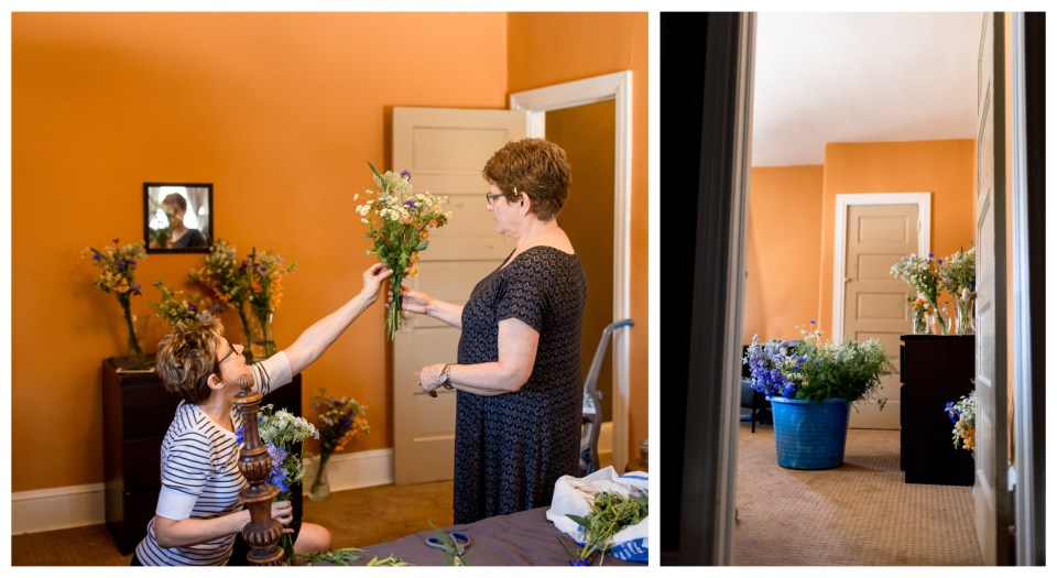 family of the bride creating flower arrangements