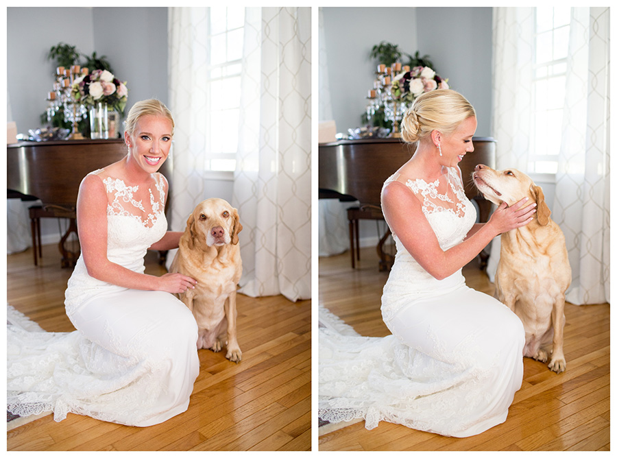 bride with her childhood dog