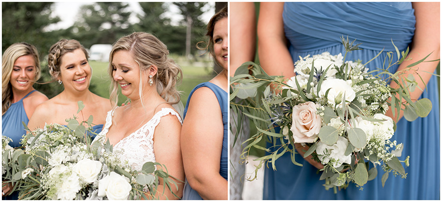 blush and nude colored wedding bouquets