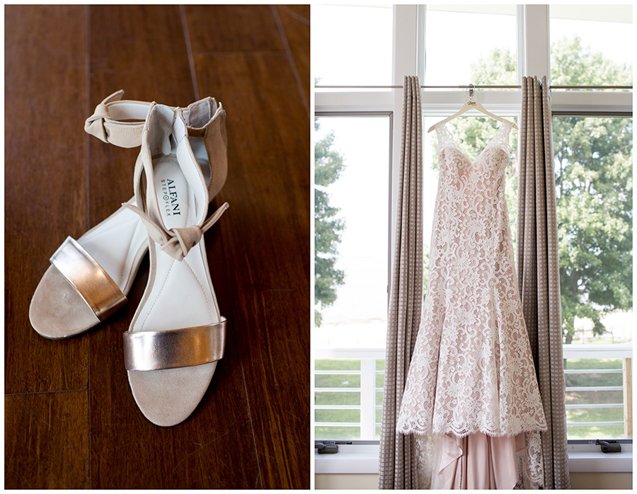 bride's wedding day details in the bridal suite