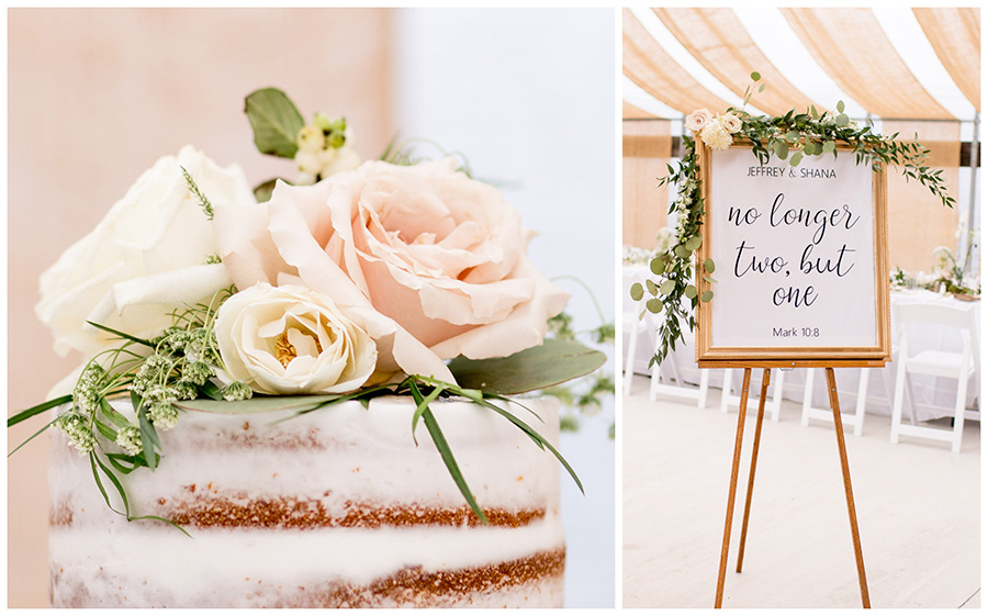 neutral colored roses top the cake at bast brother's wedding reception