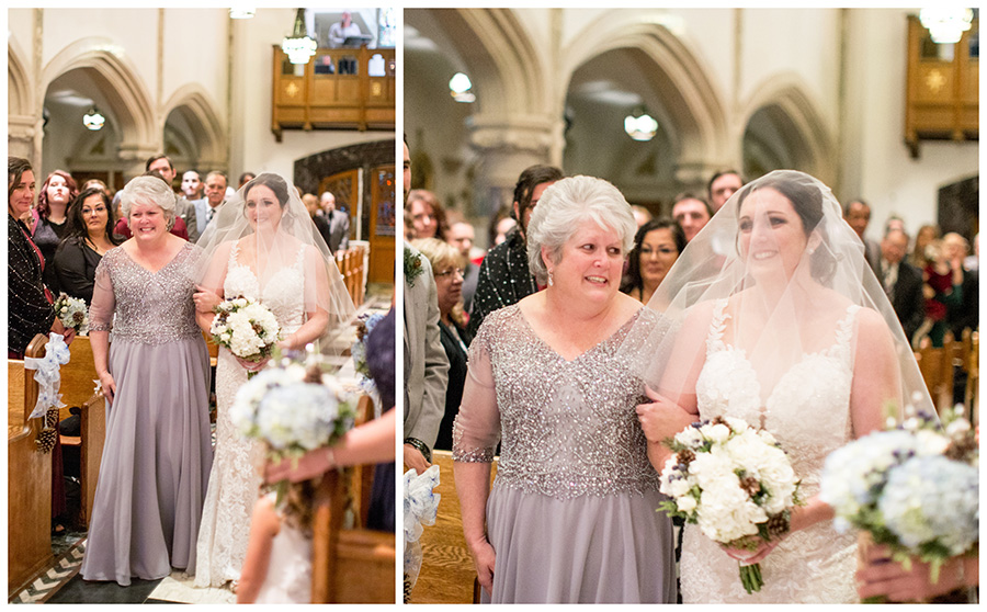 bride walks down the aisle with her mom