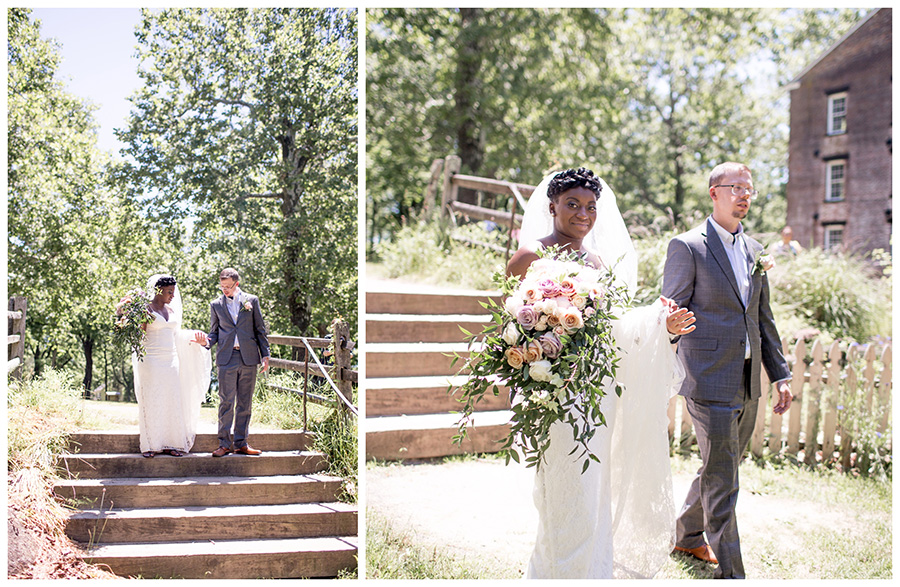 bride and groom walk around allaire state park