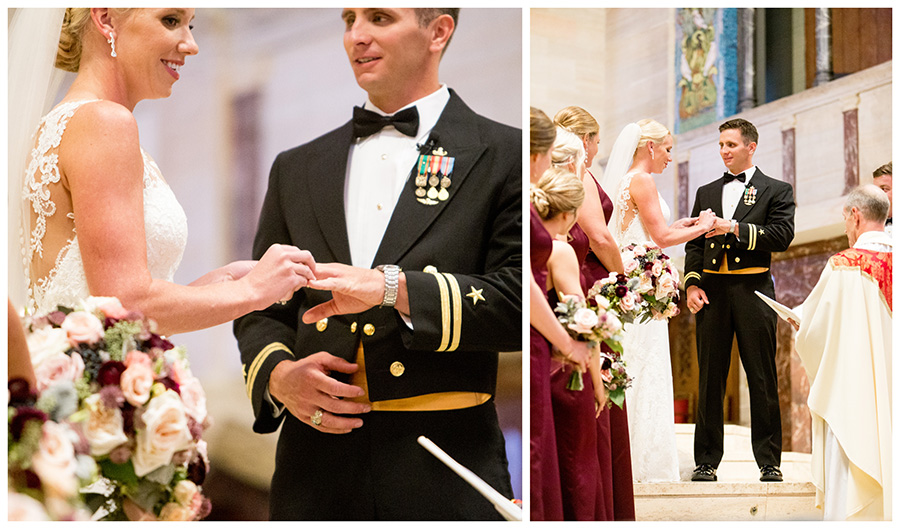 bride and groom exchange rings during their delaware wedding ceremony