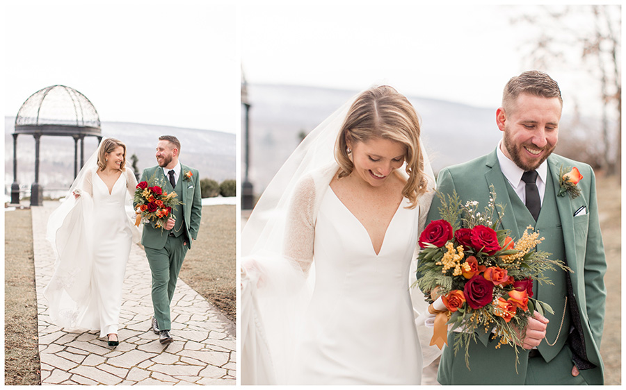 bride and groom walk down the aisle to their reception at ridgecrest at stroudsmoor country inn