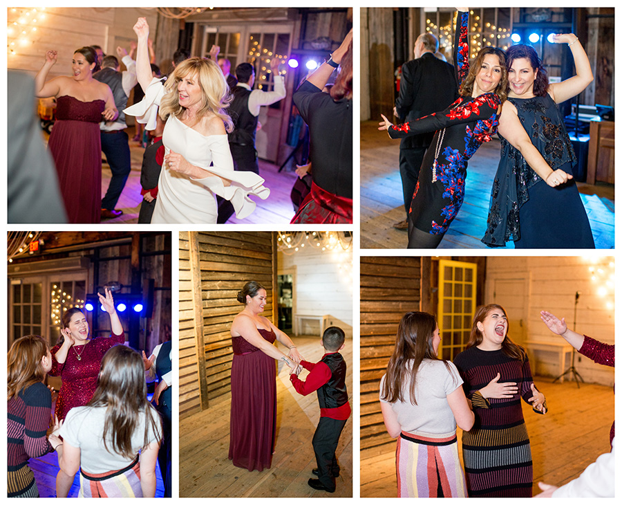 family and friends dance together at the reception