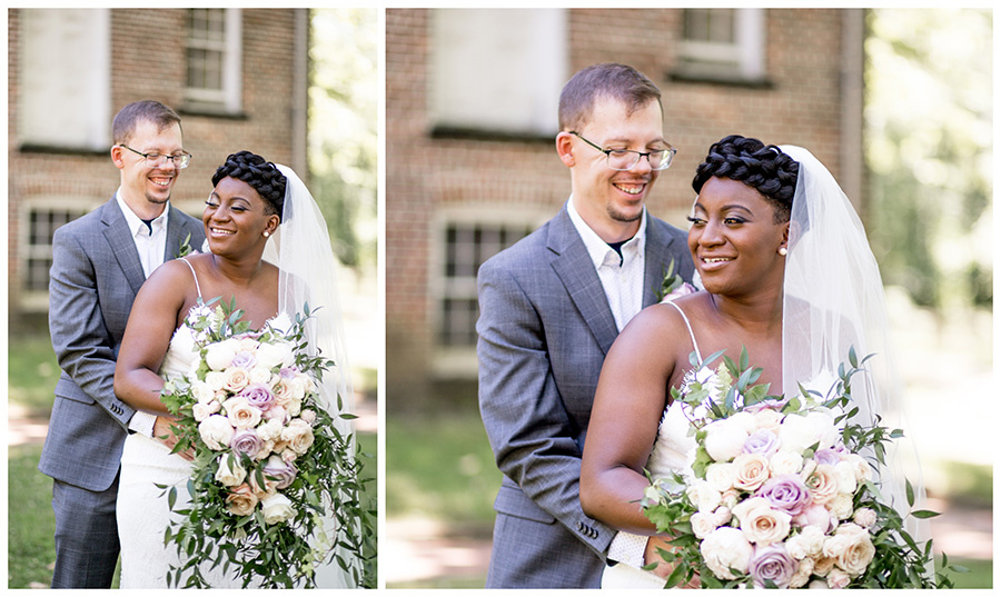 bride and groom do portraits before wedding ceremony