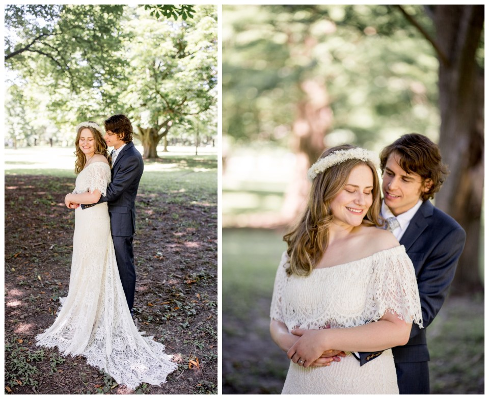 bohemian bride and groom embrace in philly
