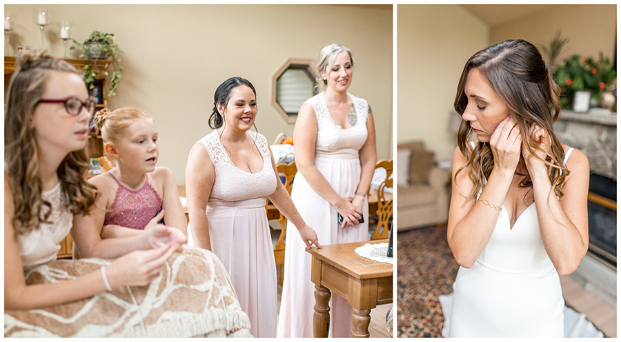 bride puts on her jewelry before ceremony