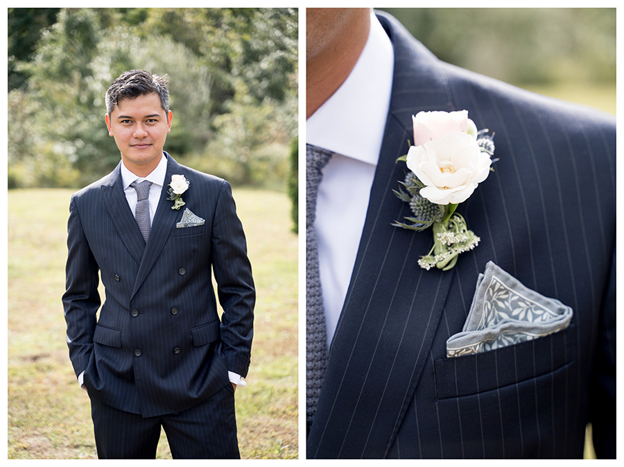 groom in double-breasted pinstriped suit