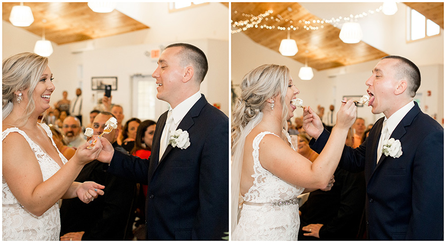 bride and groom cut the wedding cake together in the inn at salem country club