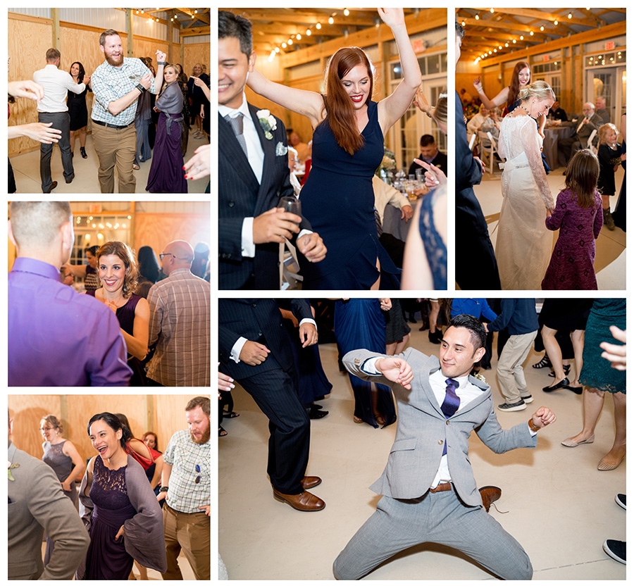 guests dancing in the rustic barn