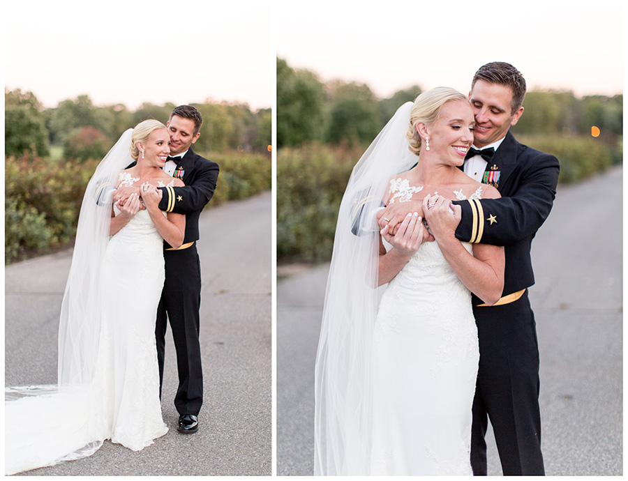 bride and groom having fun together near golf course
