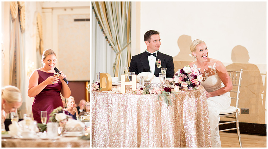 blush and plum wedding details at Dupont Country club