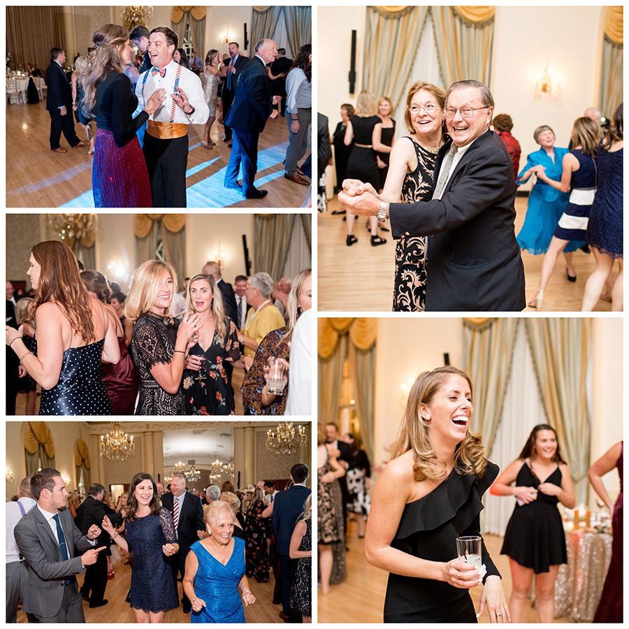 friends and guests dance at wedding reception in the ballroom at Dupont Country Club