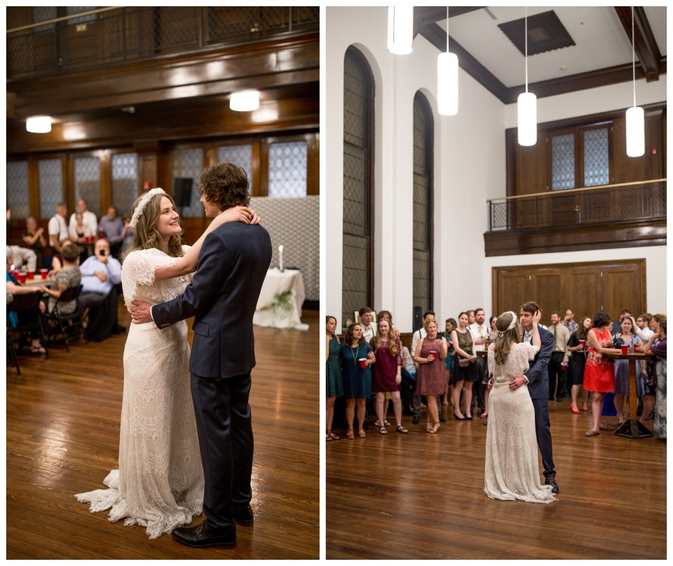 bride and groom share first dance at liberti church wedding reception