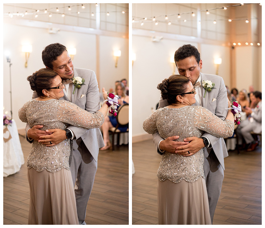 groom dances with his mom in the ballroom of the madison in riverside