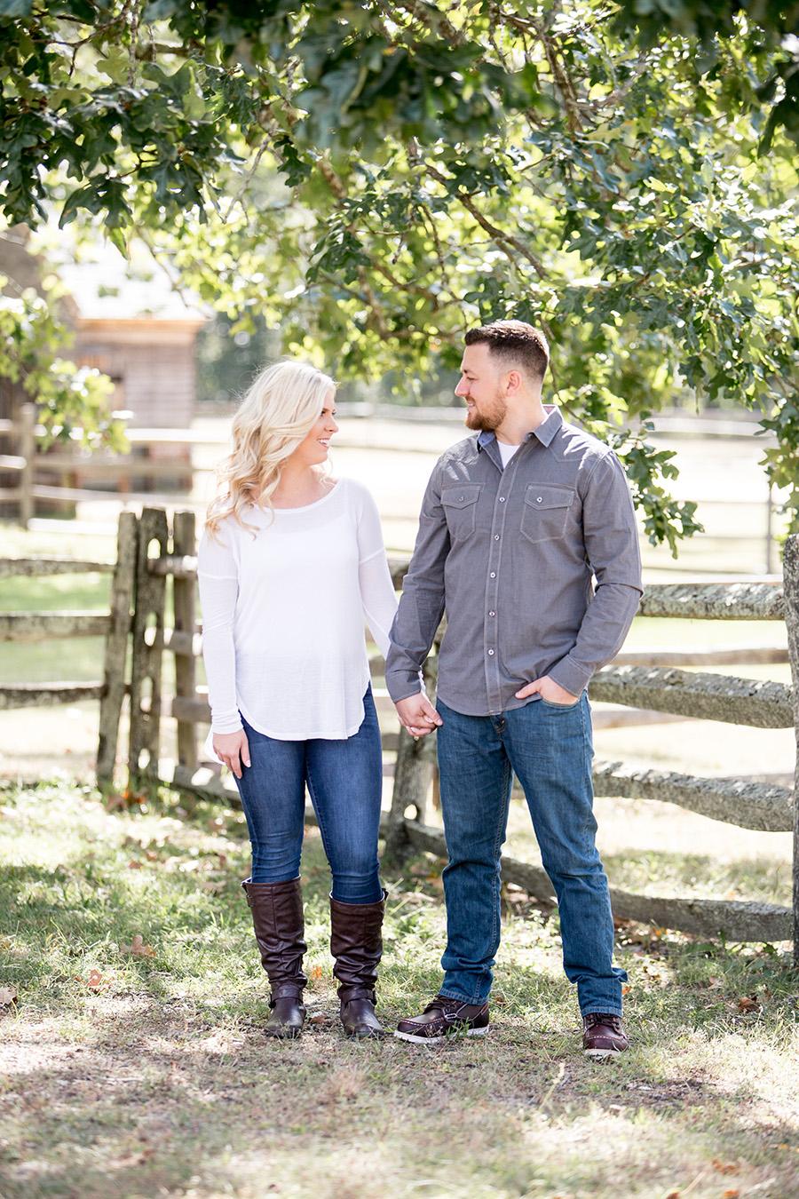 engaged couple at batsto village