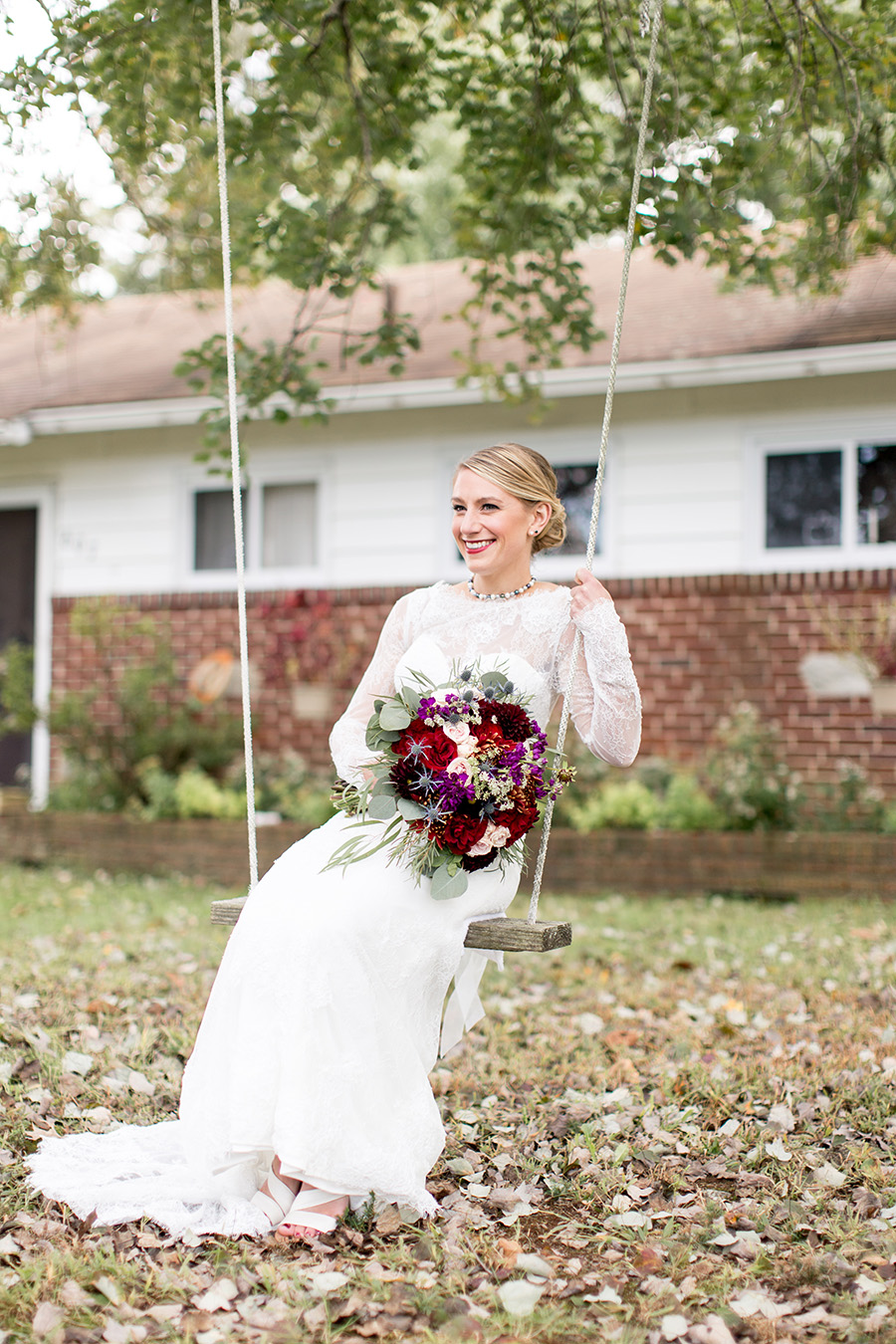 bride outside of her parent's house