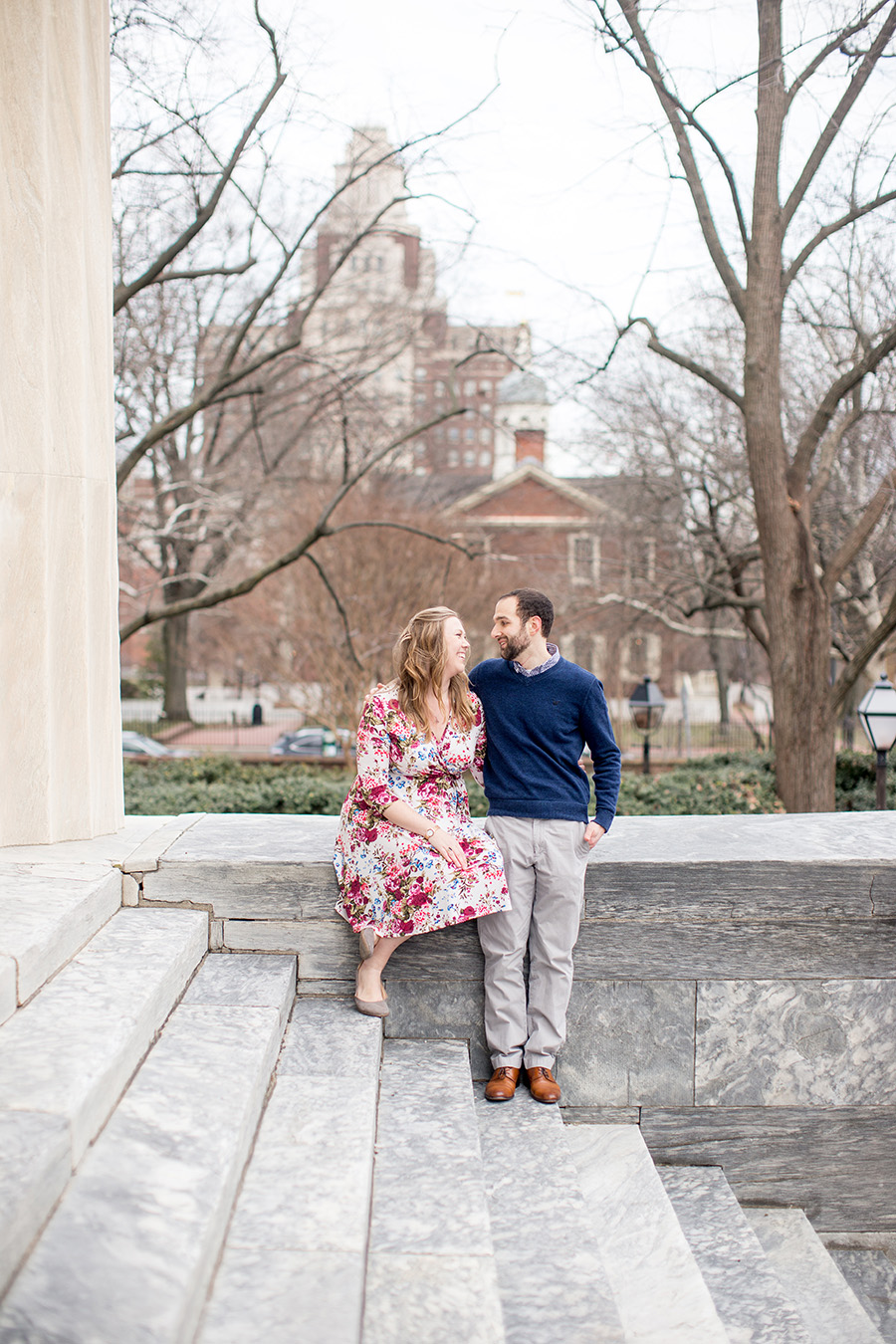 couple smiling at each other during their engagement session