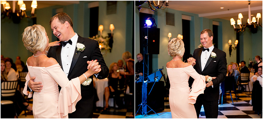 groom and his mom dance at wedding reception