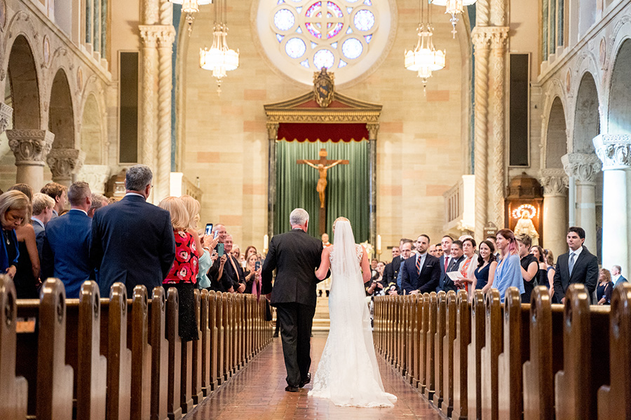 dad walking bride down the aisle at st anthony of padua church