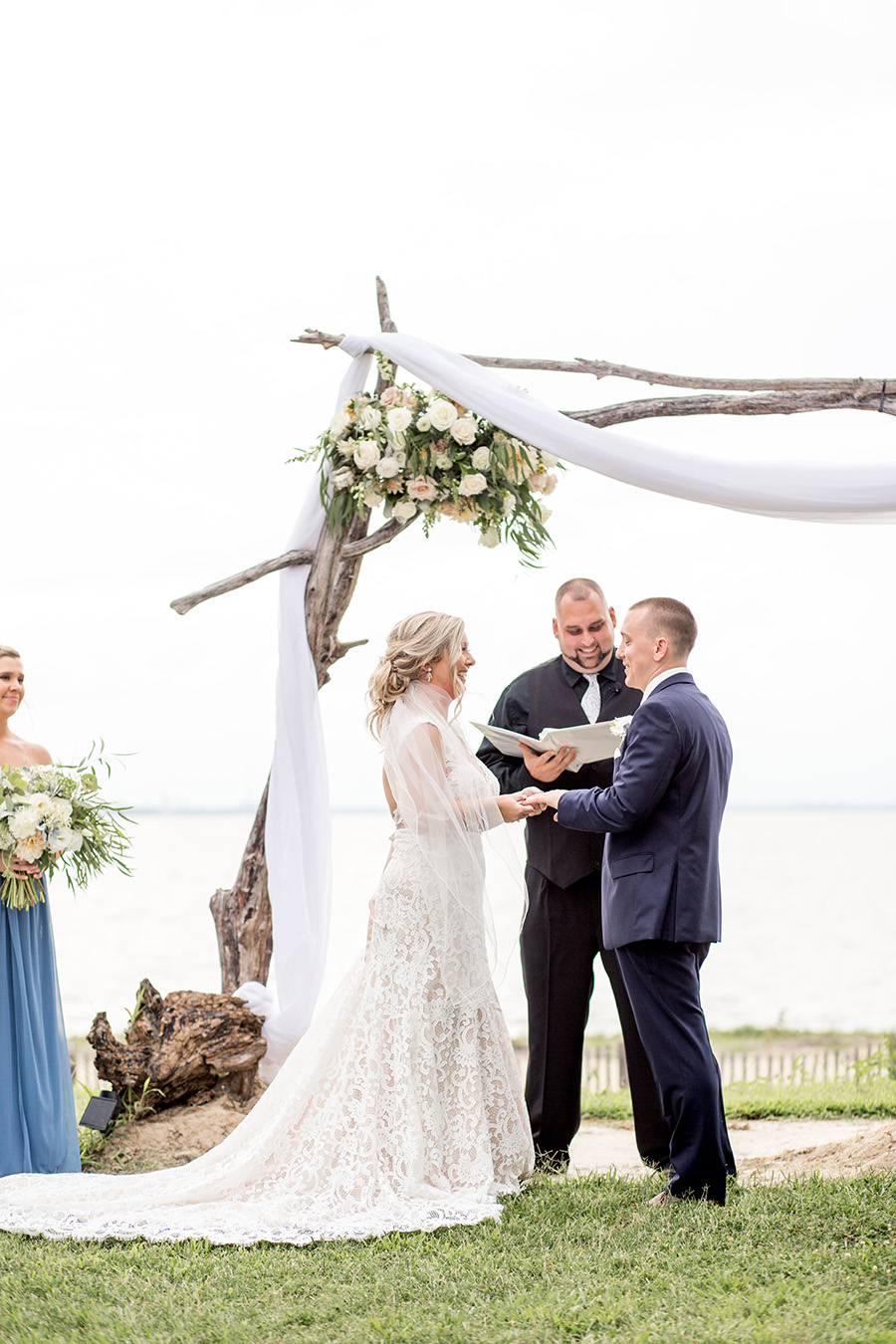 couple gets married in outdoor wedding ceremony in south jersey
