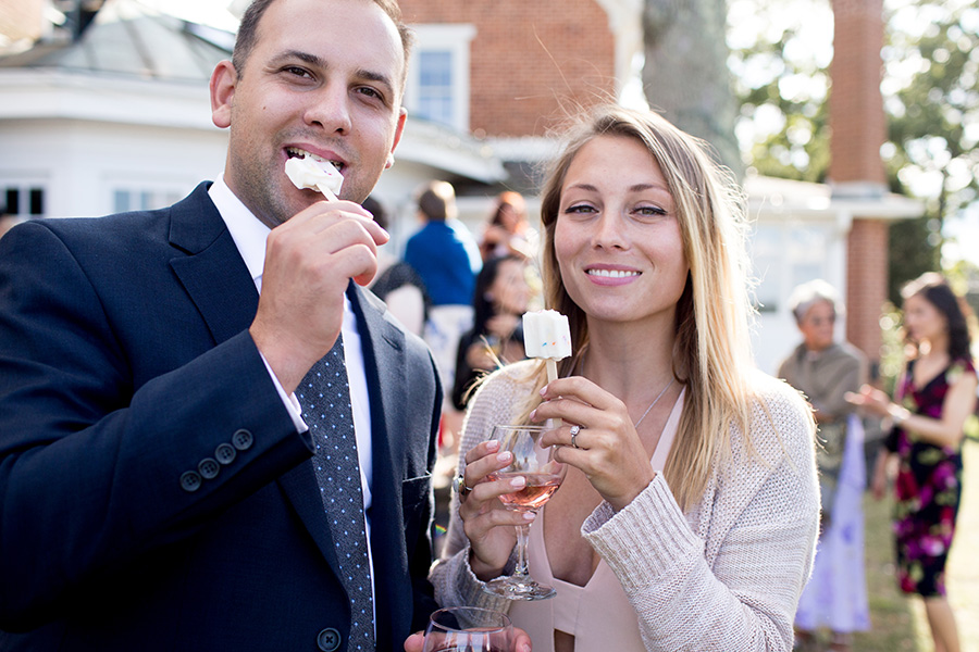 wedding guests mingle during cocktail hour at eagle manor