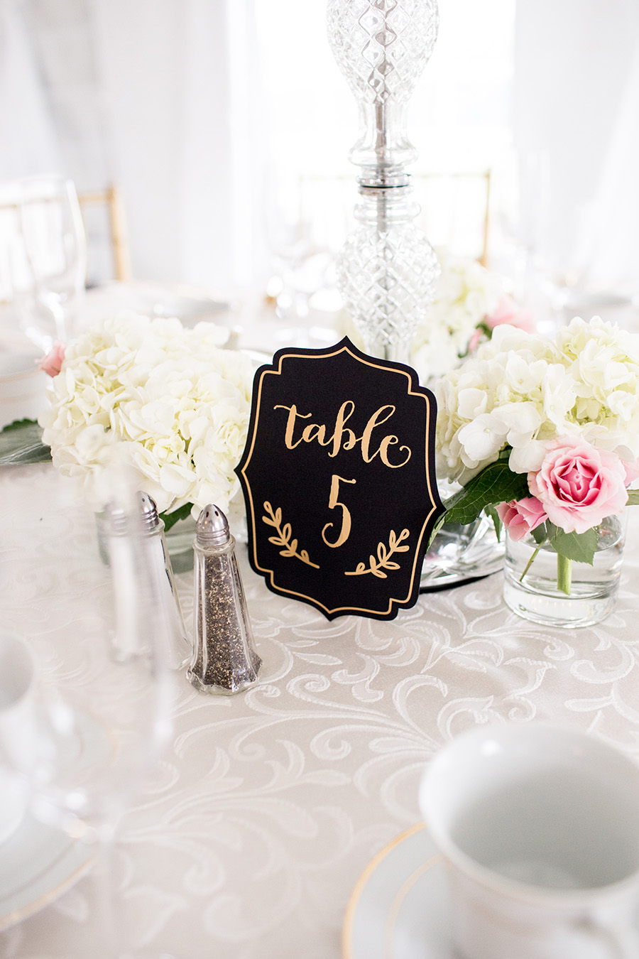 black and gold wedding centerpiece details