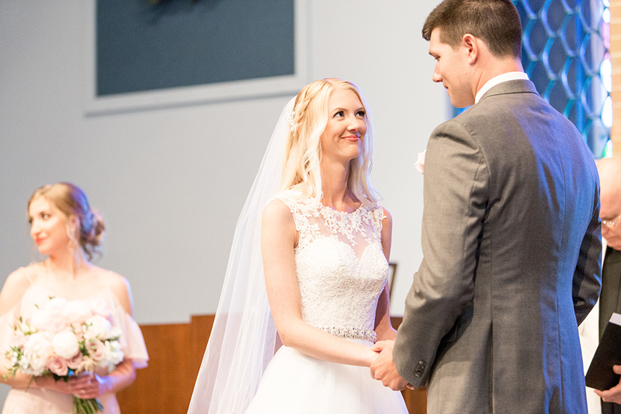 wedding couple exchanges vows