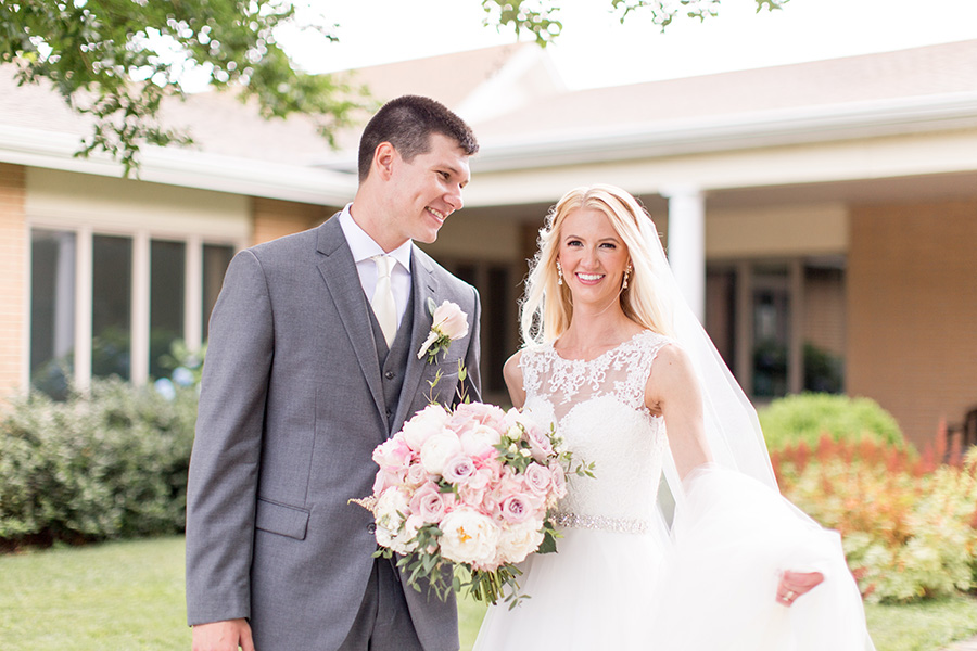 bride and groom share smiles after the ceremony