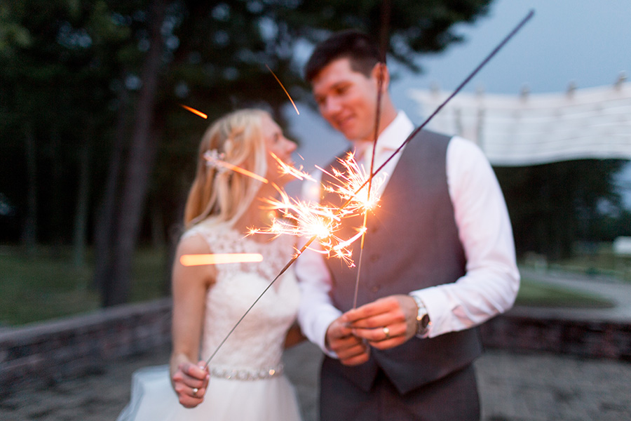 fun with wedding sparklers at blue heron golf club