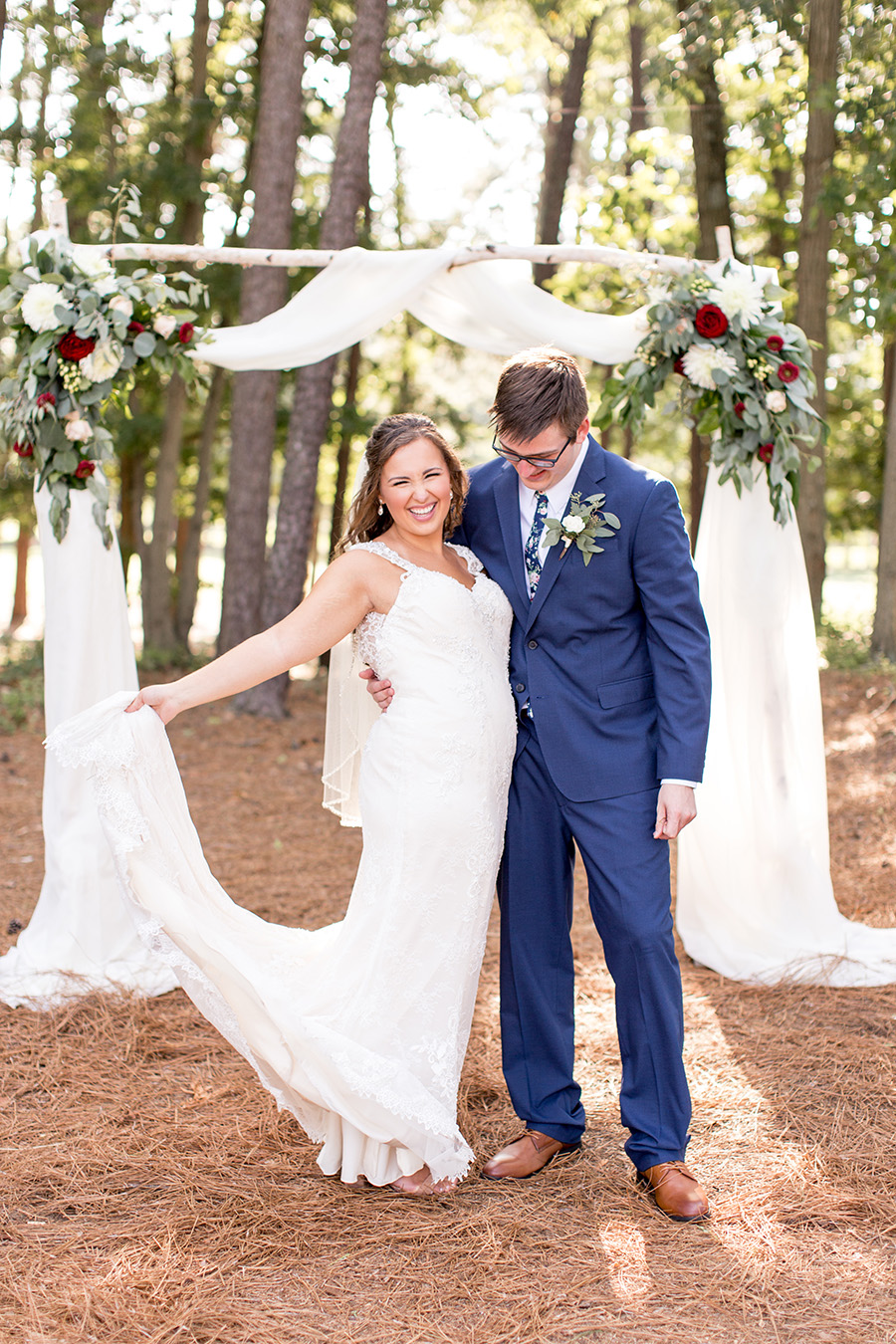wedding arch at running deer ceremony space