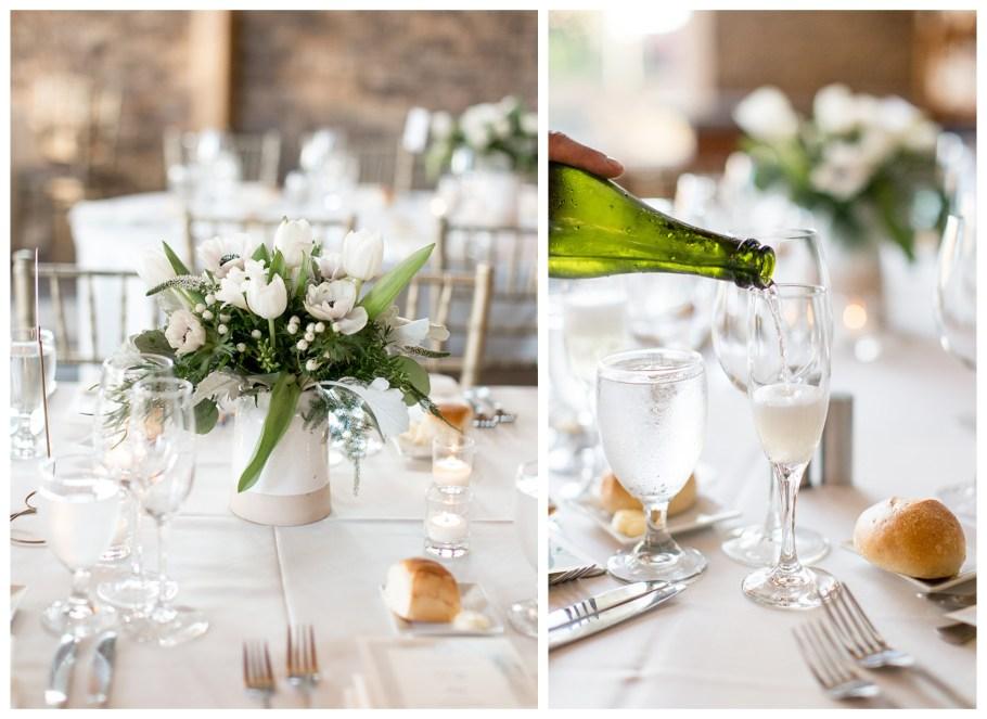 neutral wedding reception decor at stone house at stirling ridge