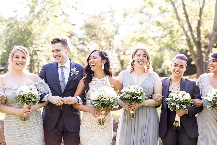 cheerful wedding day bridal party