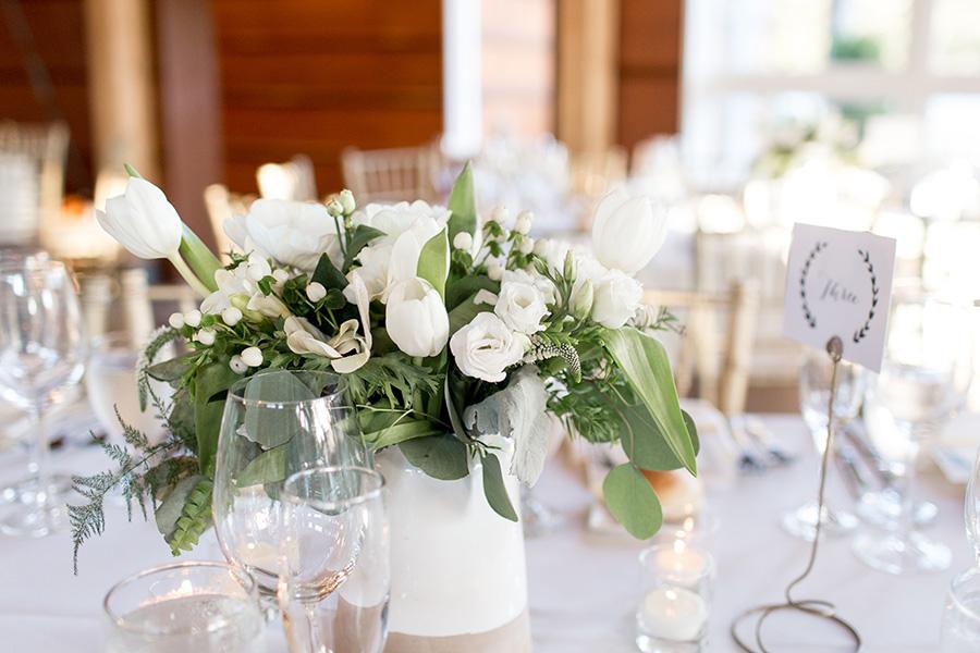 white and cream flower arrangements