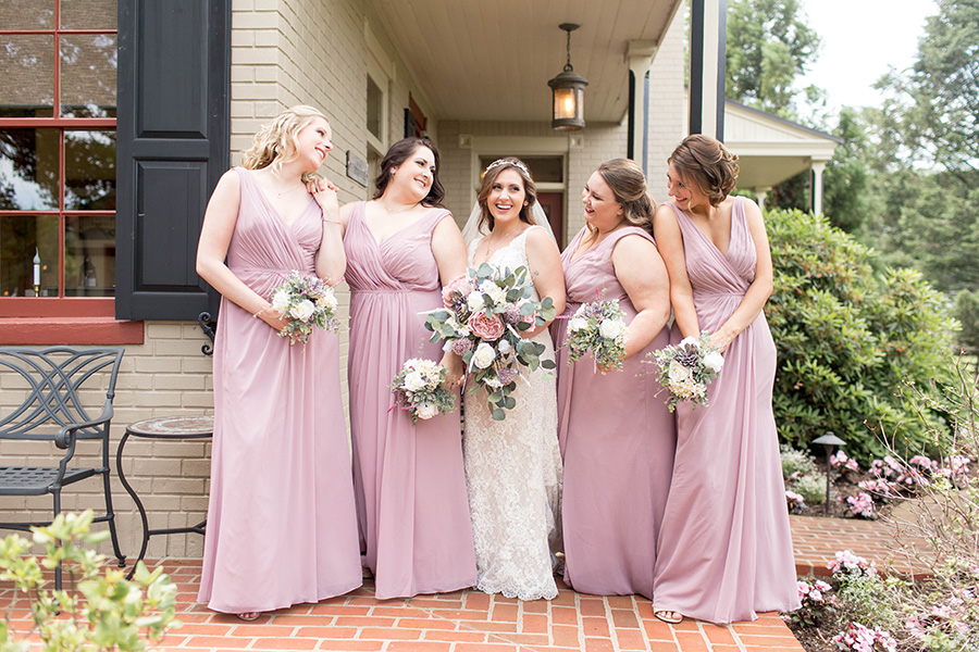 bridesmaids in dusty rose at ironstone ranch