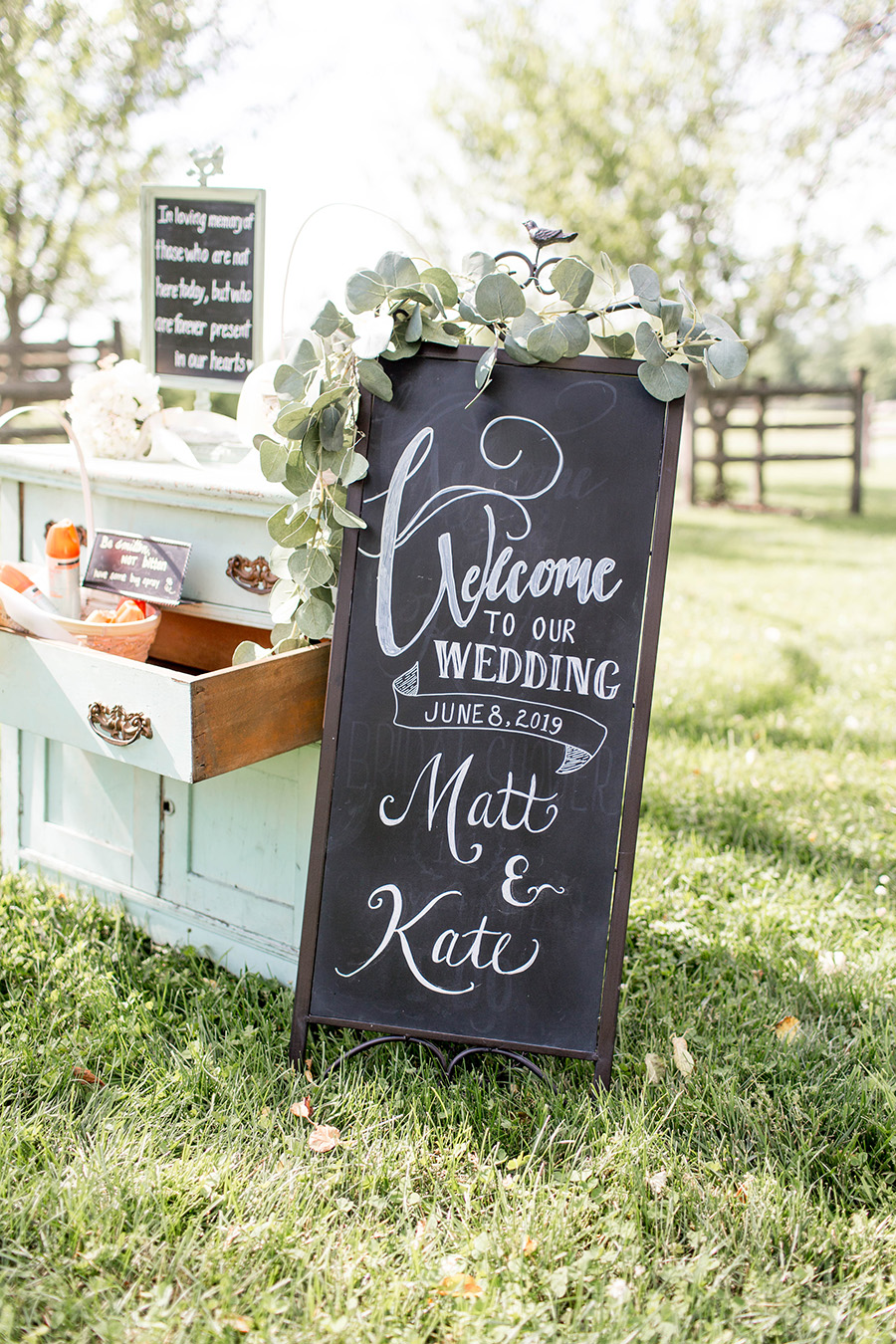 wedding ceremony in the apple orchard at ironstone ranch
