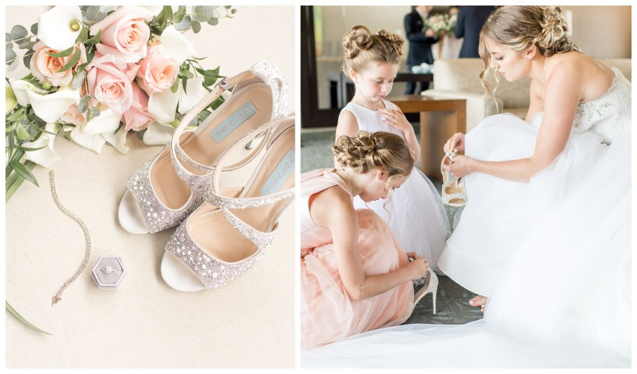 bride getting her wedding day shoes on at chubb hotel and conference center
