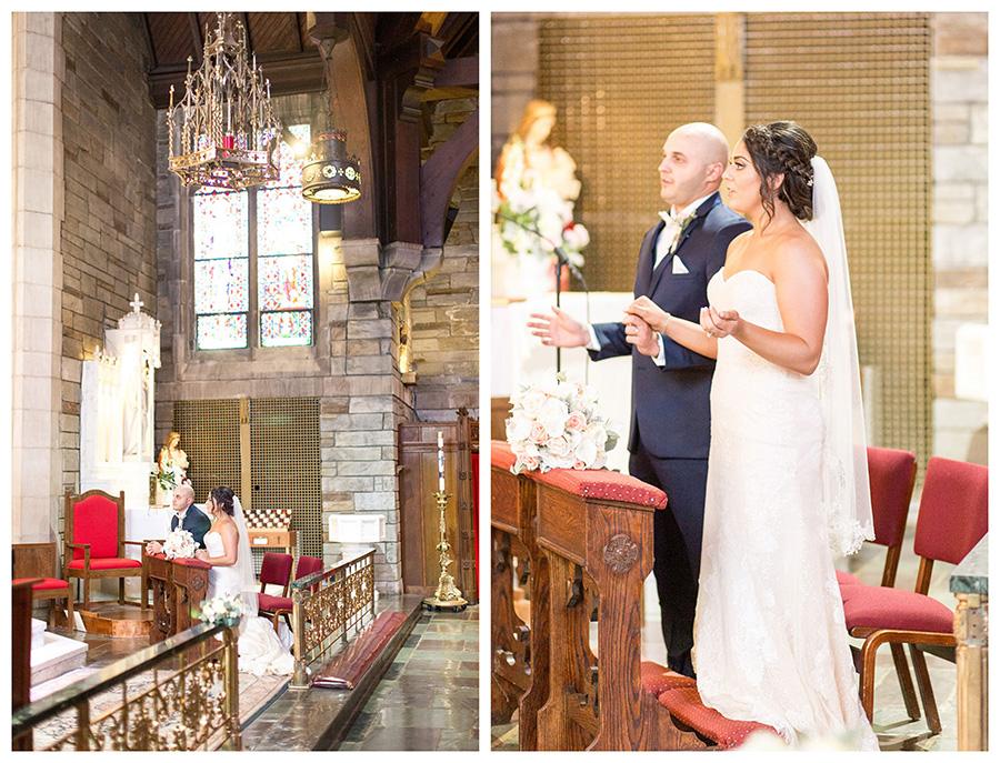 bride and groom at catholic wedding ceremony