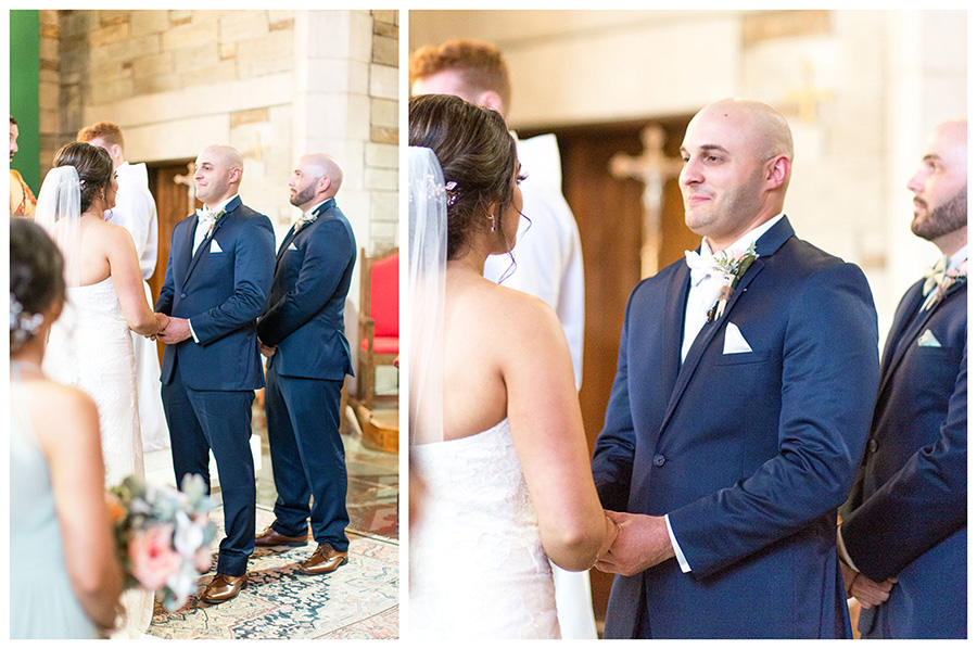 groom shares his vows at saint agnes church in west chester