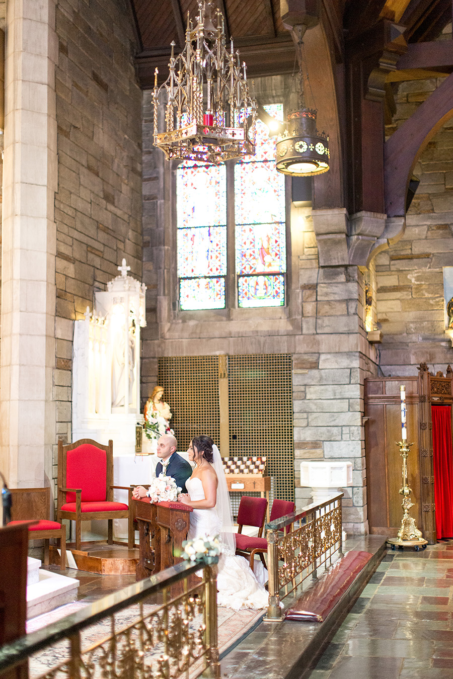 wedding ceremony at saint agnes church in west chester