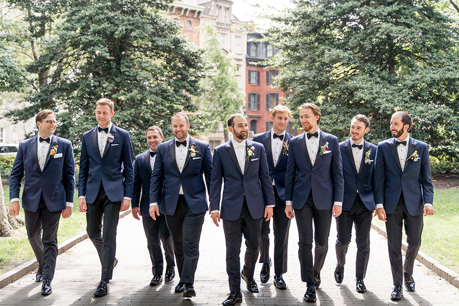 groomsmen before wedding reception at union trust