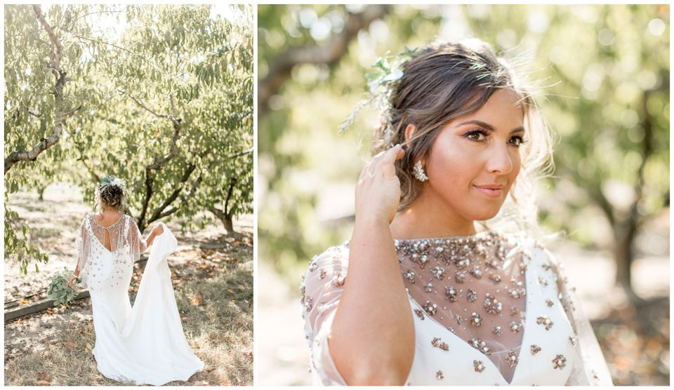 Bride in modern dress with romantic details