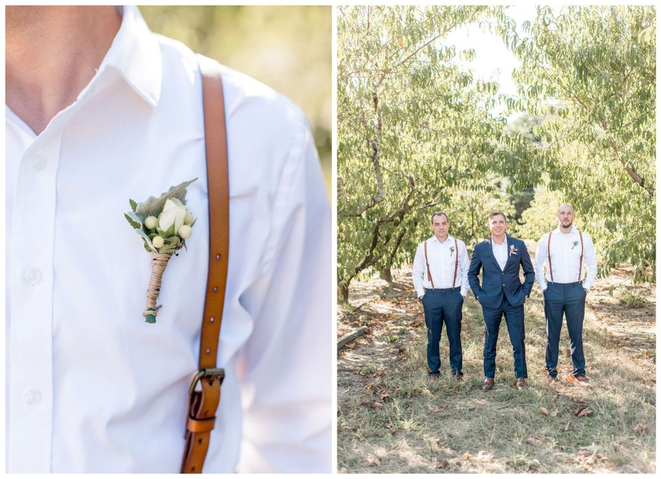 Groom and his groomsmen in blue with leather suspenders