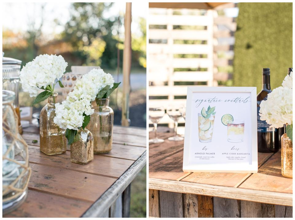 Garden cocktail hour wedding details
