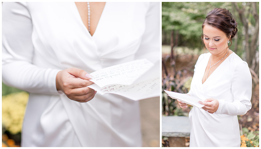 Bride reading letter from her groom
