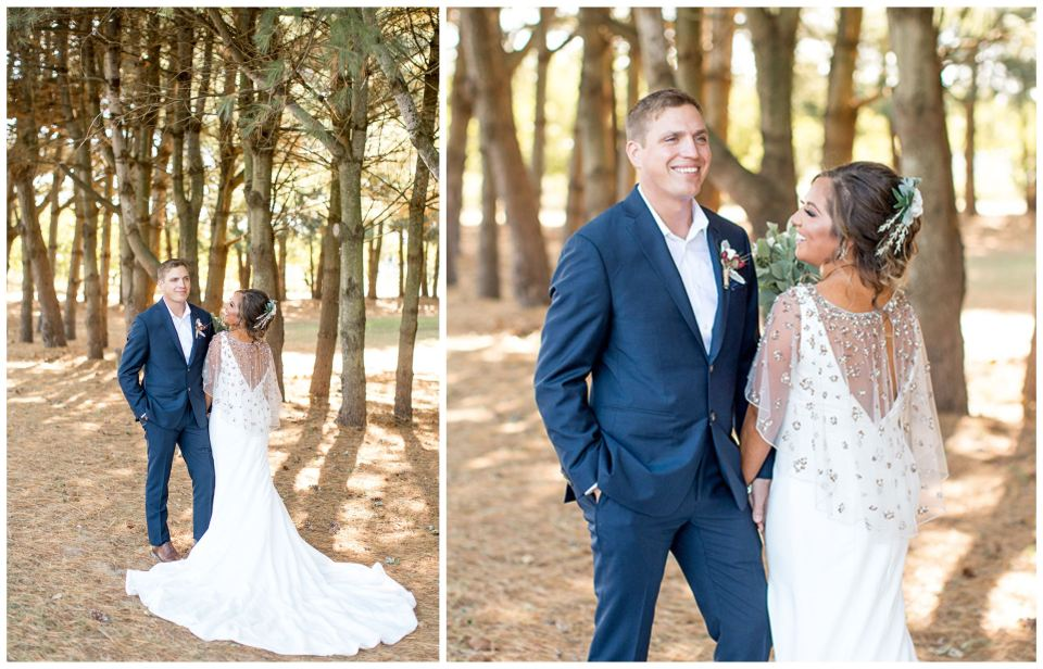 Bride and groom wedding portraits in a pine grove