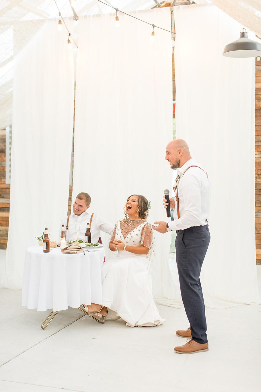 Best man gives a wedding toast