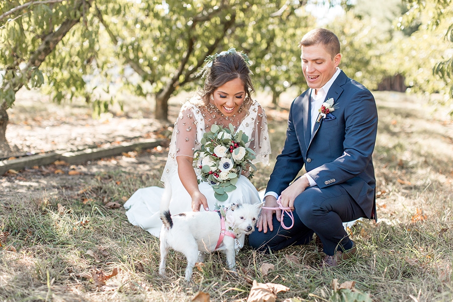 Bride and groom with their wedding day dog